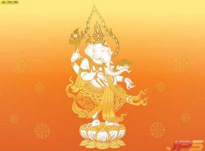 ช้างบนดอกบัว สีส้ม