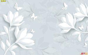 ภาพ3D ลายดอกไม้สีขาว พื้นหลังสีเทา