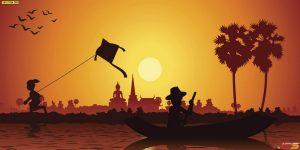 ภาพลายไทย พระอาทิตย์กำลังตกดิน